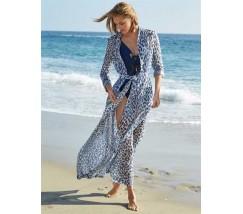 Довга пляжна накидка з рукавами леопардова