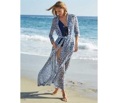 Длинная пляжная накидка с рукавами леопардовая