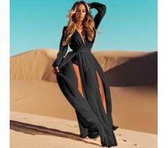 Шифонове літнє плаття-туніка чорного кольору