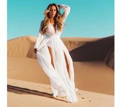 Шифонове літнє плаття-туніка білого кольору