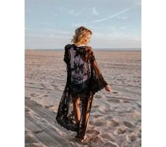 Пляжна жіноча накидка з сіточки з вишивкою чорна