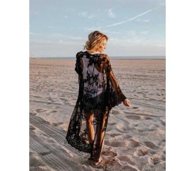 Пляжная женская накидка из сеточки с вышивкой черная