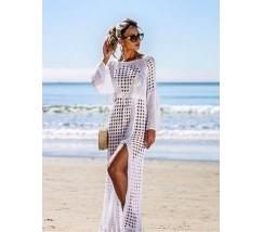 Пляжна туніка-сукня ажурна біла
