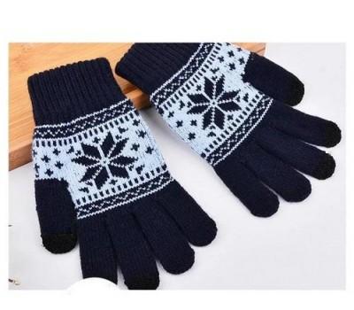 Перчатки для сенсорных экранов Снежинка синие