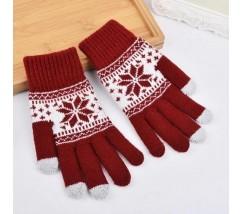 Перчатки для сенсорных экранов Снежинка красные