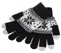 Перчатки для сенсорных экранов Снежинка черные