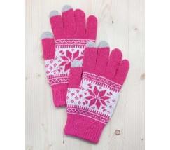 Перчатки для сенсорных экранов Снежинка розовые