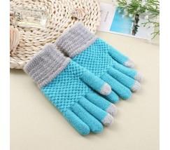 Перчатки для сенсорных экранов Touch Gloves голубые
