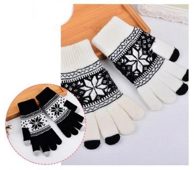 Перчатки для сенсорных экранов Снежинка белые