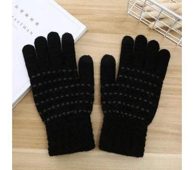 Перчатки для сенсорных экранов с полоской черные