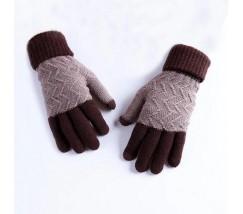 Зимние шерстяные перчатки унисекс коричневые