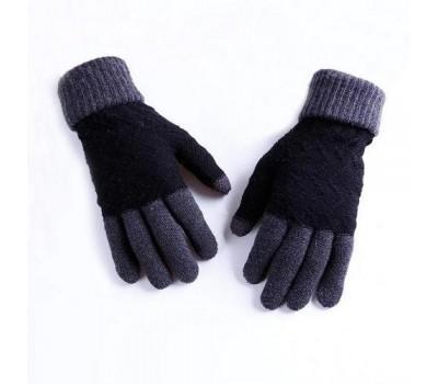 Зимние шерстяные перчатки унисекс черные