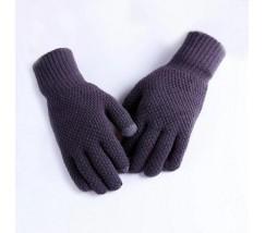 Мужские теплые трикотажные перчатки серые
