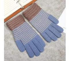 Зимние перчатки в полоску голубые