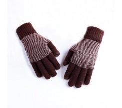 Теплые зимние коричневые перчатки