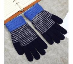 Зимние перчатки в полоску синие