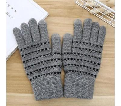 Перчатки для сенсорных экранов с полоской светло-серые