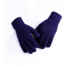 Мужские теплые трикотажные перчатки синие