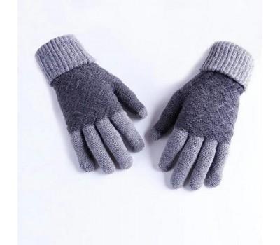 Зимние шерстяные перчатки унисекс серые