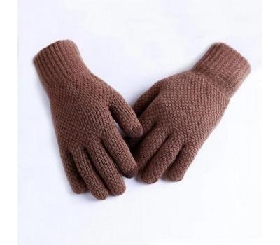 Мужские теплые трикотажные перчатки коричневые