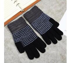 Зимние перчатки в полоску чорные