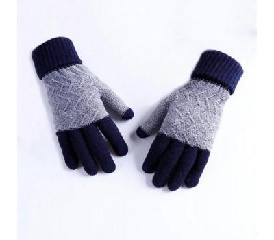 Зимние шерстяные перчатки унисекс синие