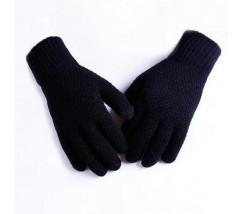 Мужские теплые трикотажные перчатки черные