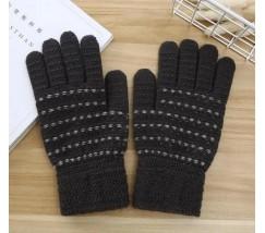 Перчатки для сенсорных экранов с полоской темно-серые