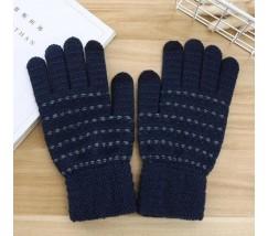 Перчатки для сенсорных экранов с полоской синие