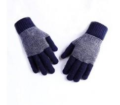 Теплые зимние синие перчатки