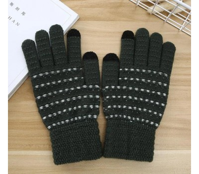 Перчатки для сенсорных экранов с полоской зеленые