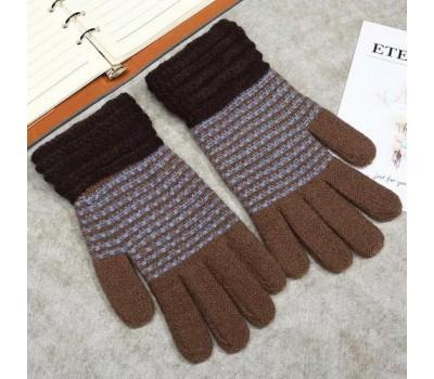 Зимние перчатки в полоску коричневые