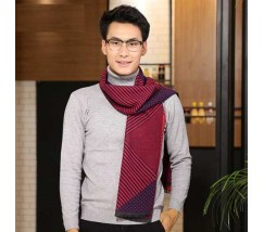 Мужской шарф демісезонний бордовий