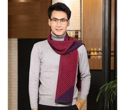 Мужской шарф демисезонный бордовый