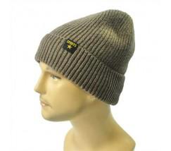 Зимова чоловіча шапка коричнева Sports з відворотом