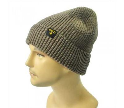 Зимняя мужская шапка коричневая Sports с отворотом