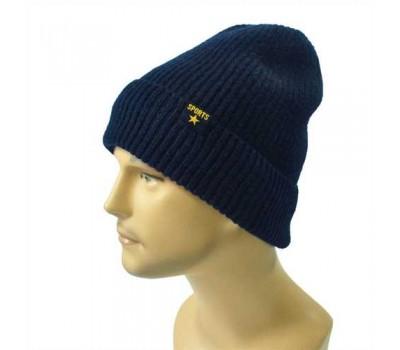 Зимняя мужская шапка синяя Sports с отворотом