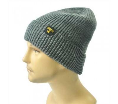 Зимняя мужская шапка серая Sports с отворотом