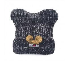 Дитяча зимова шапочка для дівчинки Міккі з вушками чорна
