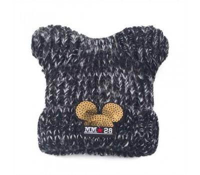 Детская зимняя шапочка для девочки Микки с ушками черная