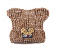 Дитяча зимова шапочка для дівчинки Міккі з вушками коричнева