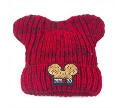 Дитяча зимова шапочка для дівчинки Міккі з вушками червона