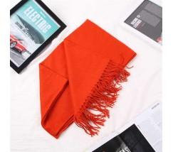Однотонный женский шарф с бахромой оранжевый