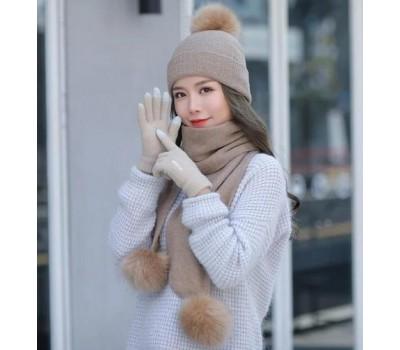 Женский набор шапка+шарф+перчатки сенсорные бежевый
