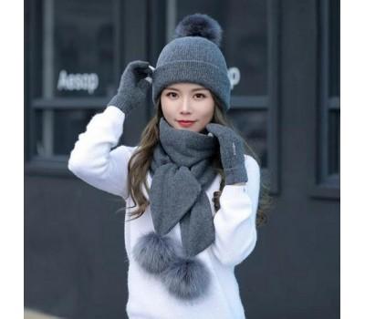 Женский набор шапка+шарф+перчатки сенсорные темно-серый