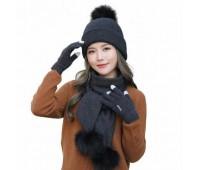 Женский набор шапка+шарф+перчатки сенсорные черный