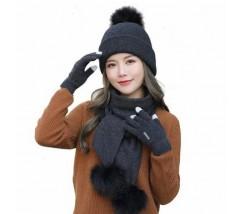 Жіночий набір шапка+шарф+рукавички сенсорні чорний
