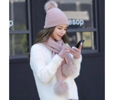 Женский набор шапка+шарф+перчатки сенсорные розовый