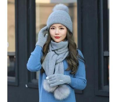 Женский набор шапка+шарф+перчатки сенсорные серый