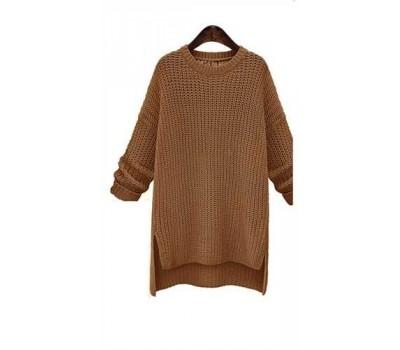 Женский свитер удлиненный хаки